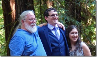 Michael, Anna, Michael's dad Dave (me)  -- Michael and Anna, Wedding Day, Camp Meeker California, July 21, 2018