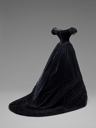 Black velvet dress belonging to Princess Elizabeth. From The Museum of Fine Arts Houston Cloaked in Magnificent Opulence