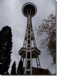 View of Seattle Space Needle tower from base