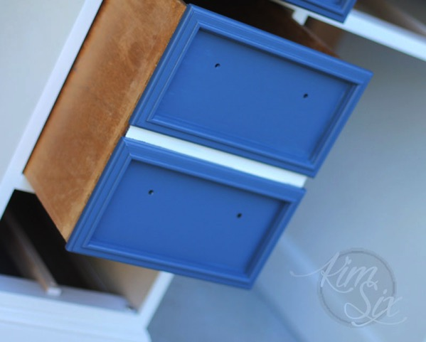 Faux painted drawers in desk