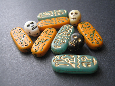 Skull and Egyptian Hieroglyph Czech Glass Beads