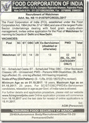 FCI Delhi Recruitment 2017 Watchman Notification