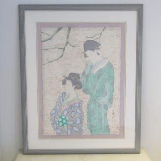 Signed Japanese Mixed Media Painting