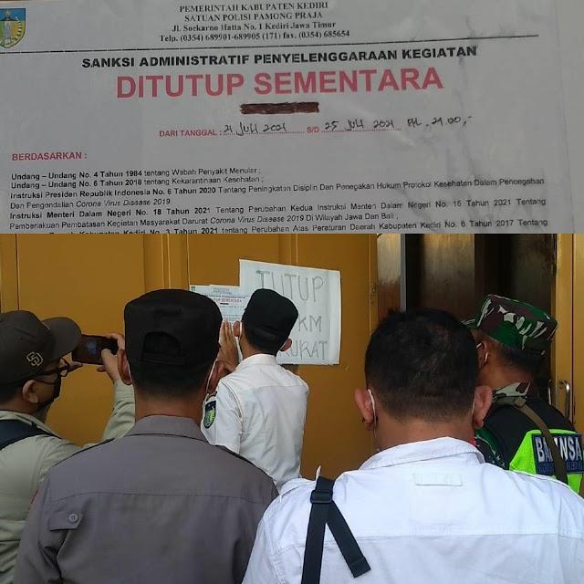 Perintah Mas Bup, Beberapa Tempat Hiburan Malam Disegel di Kabupaten Kediri