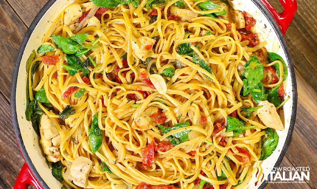 chicken pasta finished in the skillet