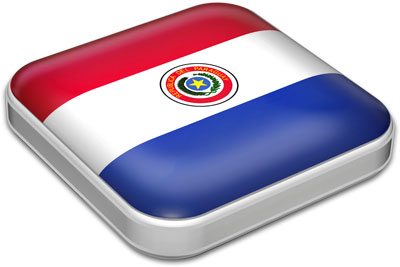 Flag of Paraguay with metallic square frame