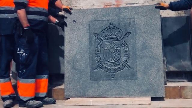 Escudo de armas rey emérito. Barcelona