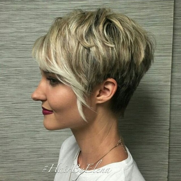 Pixie with long bangs and highlighted strands