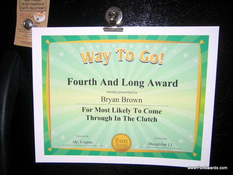 Funny Award Certificates - by comedian Larry Weaver   www - employee superlatives