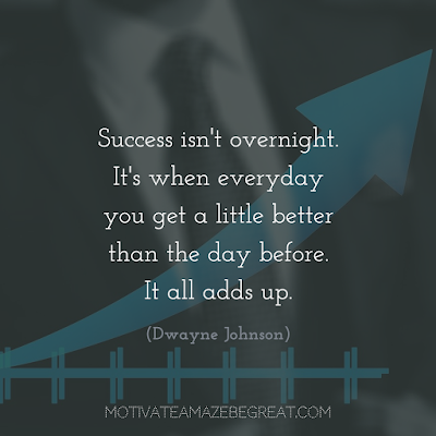 "Quotes About Work Ethic: ""Success isn't overnight. It's when everyday you get a little better than the day before. It all adds up"" - Dwayne Johnson"