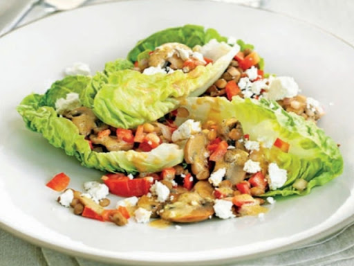 Warm mushroom and lentil salad with goat's cheese