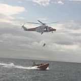 9 October 2011. Coastguard helicopter 106 training with Poole ILB. Photo: Poole RNLI/Ade