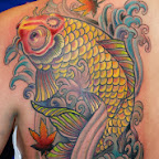 yellow Koi Carp - Shoulder Blade Tattoos Designs