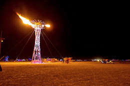 One of the many fire spitting art pieces on the playa