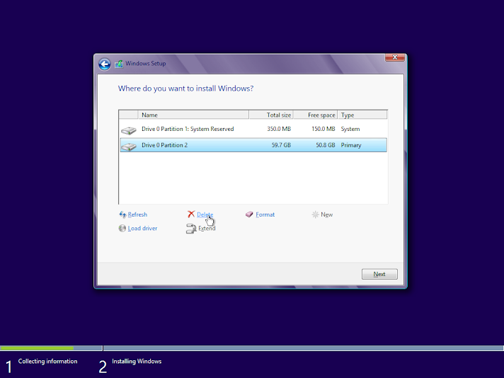 Windows 8 clean install, custom partition setup