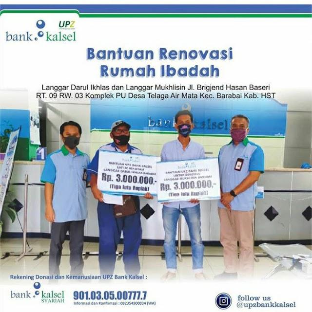 Komitmen Wujudkan Nilai Islam, UPZ Bank Kalsel Ikut Renovasi Dua Musala Ini