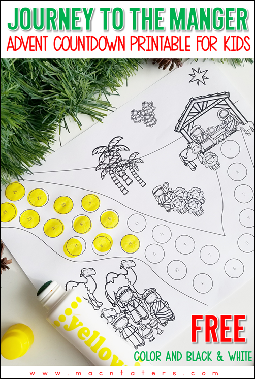 Printable Advent Countdown for Kids: Journey to the Manger is a Christ Centered Advent Christmas Countdown for kids.