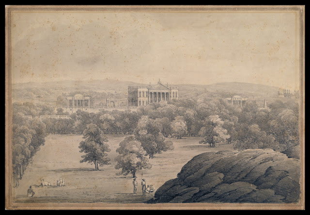 *The Residency, Hyderabad (Deccan); a palatial residence in classical style, with imposing entrance gateways, standing in a wooded park; a pencil drawing, c.1810* (BL)