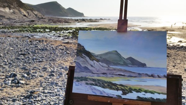 Plein Air Painting at Crackington Haven, Cornwall. Artist Lawrence Dyer