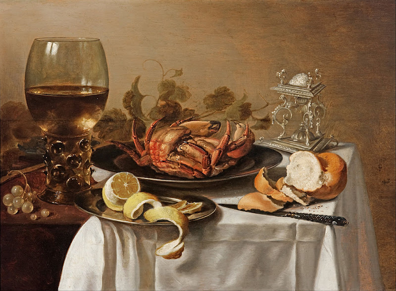 Pieter Claesz - A still life with a roemer, a crab and a peeled lemon - Google Art Project