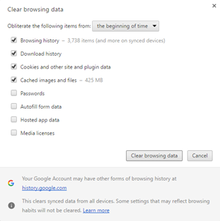 Clear Browsing Data B