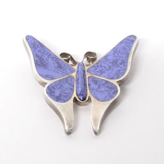 Sterling Silver & Purple Stone Butterfly Brooch