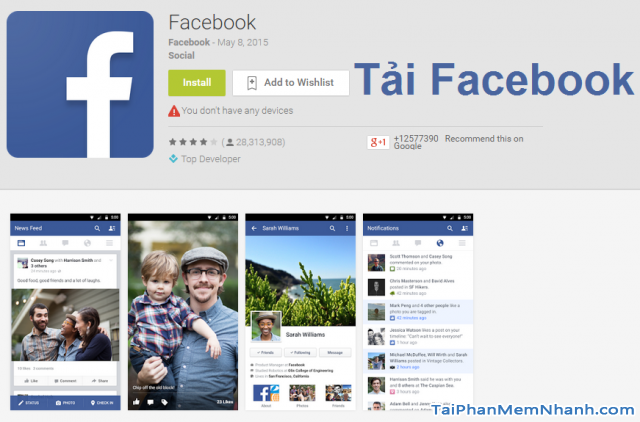 Tải facebook cho điện thoại Android