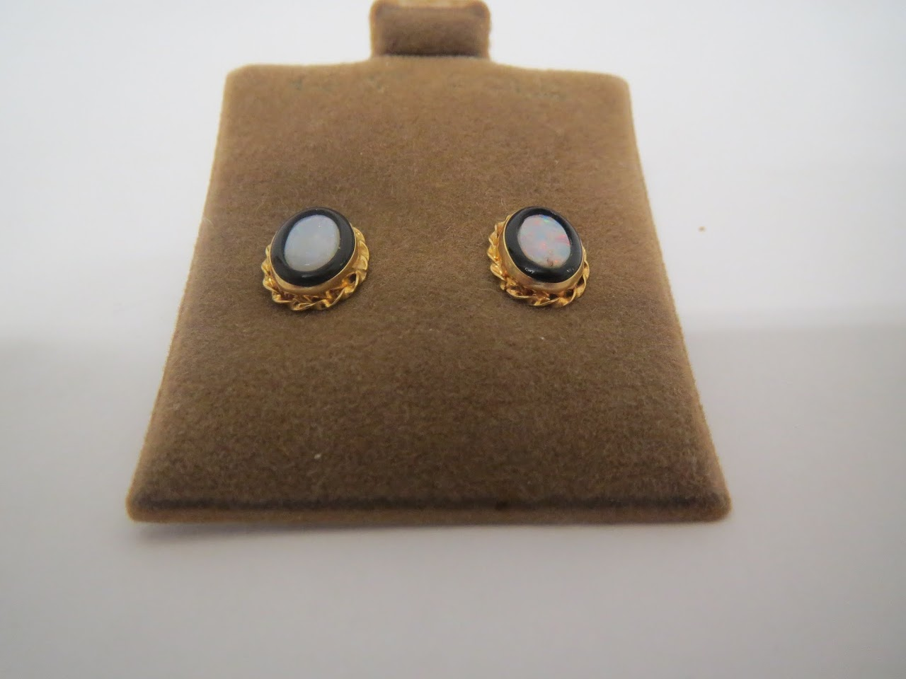 14K Gold, Opal & Onyx Stud Earrings