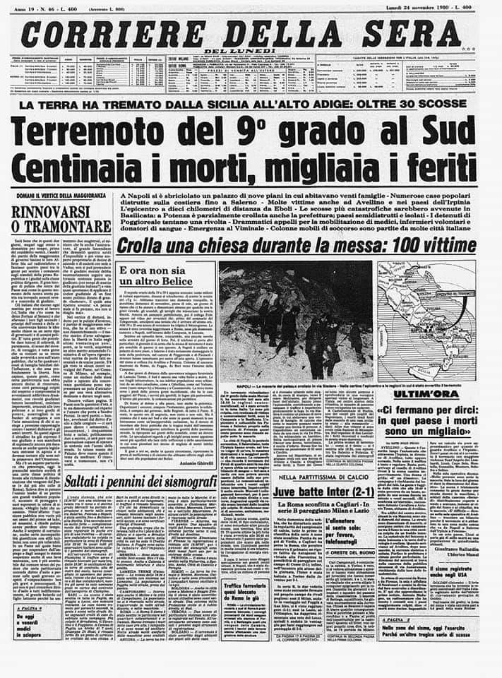 38 ANNI FA IL TRAGICO TERREMOTO DELL'IRPINIA