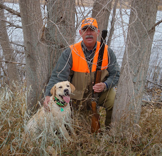 Dan with Brinkley after walking a field in South Dakota