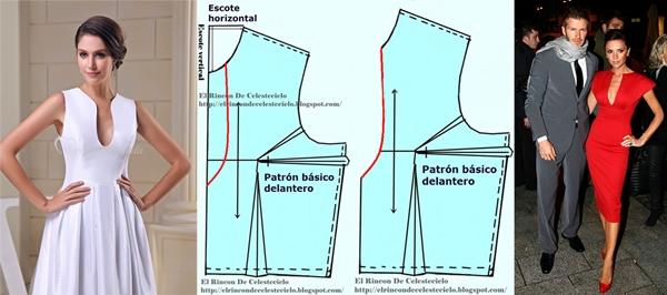 Modelos de escote lágrima muy pronunciado con se respectivo patrón de corpiño