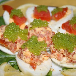 Eggs With Salmon And Wasabi Caviar