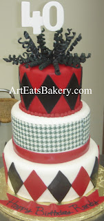 Three tier red, black and white fondant houndstooth and diamond unique men's 40th birthday cake