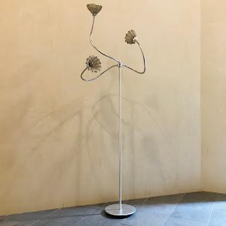 Modernist Silver Gilt & Wire Mesh Floor Lamp