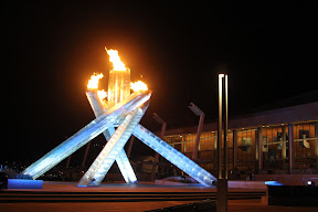 The Olympic cauldron next to the International Broadcast Centre