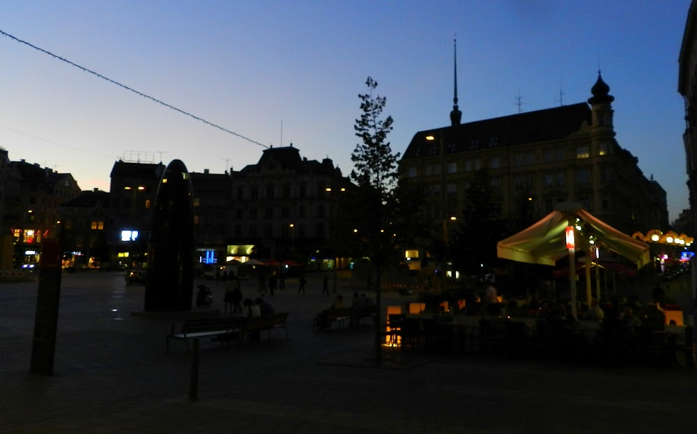 sunset in the main plaza in Brno... that big black thing to the left is some sort of clock!