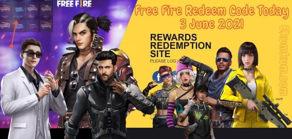 Free Fire Redeem Code 3 June 2021 FF | Free Fire Redeem Code Today Indian Server – FF Redeem Code 2021 Today New India 3 June