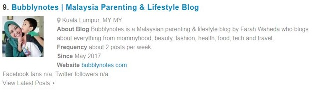 TOP 20 MALAYSIAN PARENTING BLOG