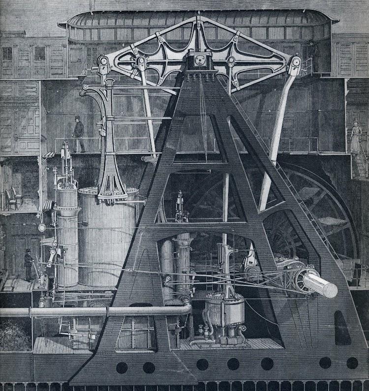 Maquina walking beam del vapor PURITAN. El grabado da una idea del tamaño del cilindro y de la operación en la maquina. Del libro Bateaux a Roues D´Europe et D´Amerique.JPG