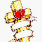 heart - Crosses Tattoos Designs