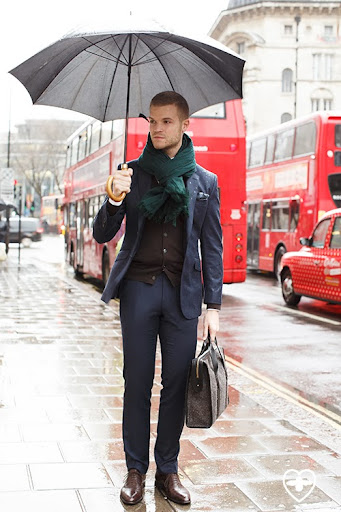 Phil Green; Farfetch personal shopping; TM Lewin suit; De Fursac scarf; Charvet pocket sq; Uniqlo scarf; Prada shoes; Cherchei bag;