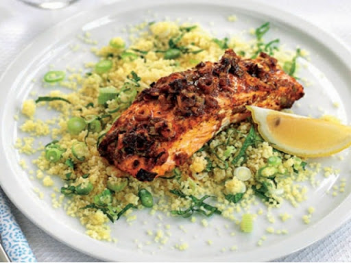 Spice and honey salmon with couscous