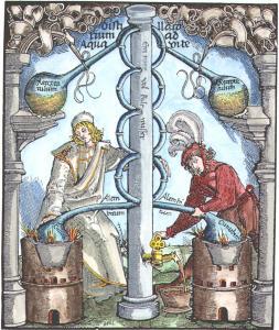 Woodcut From Hieronymus Braunschweig Das Buch Zu Distillieren Strassburg 1519, Alchemical And Hermetic Emblems 1