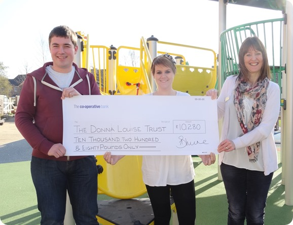 Cheque - l-r Graham Witter - Nikki Wrench - Tracey  Powell