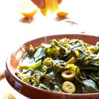 Braised Greens with Olives and Lemon.