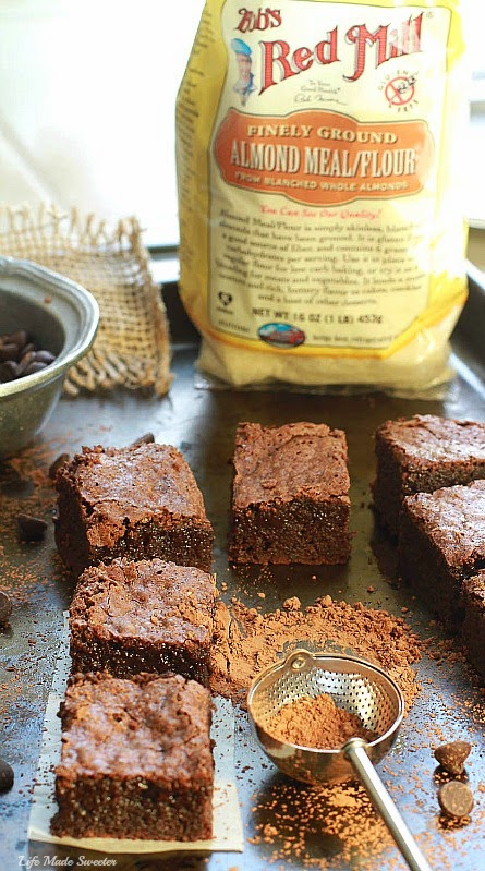Easy Almond Flour Fudge Brownies - The perfect easy & super fudgy gluten free brownie made with almond flour meal & coconut oil. You'll never guess they're healthier made with NO butter @LifeMadeSweeter.jpg