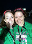 "Julie and I before the race. Our fourth ATL Race for the Cure together and our three year ""In Real Life"" Friend-a-versary!"
