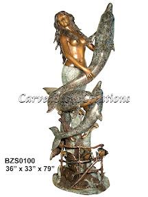 Bronze, Dolphins, Mermaid, Statue