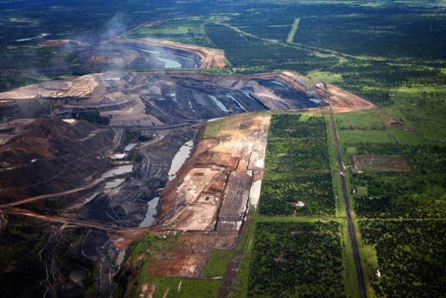 Aerial view of the Adani Carmichael coal mine in Queensland, Australia. Adani's Carmichael project has been the focus of opposition by organizations ranging from the United Nations to green groups fighting new coal projects in the environmentally sensitive area. Photo: mining.com