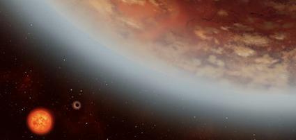 ilustração de dois exoplanetas em torno de sua estrela